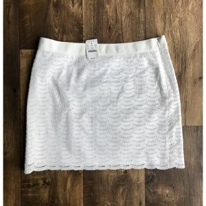 J.Crew Scalloped White Lace Skirt Size 6